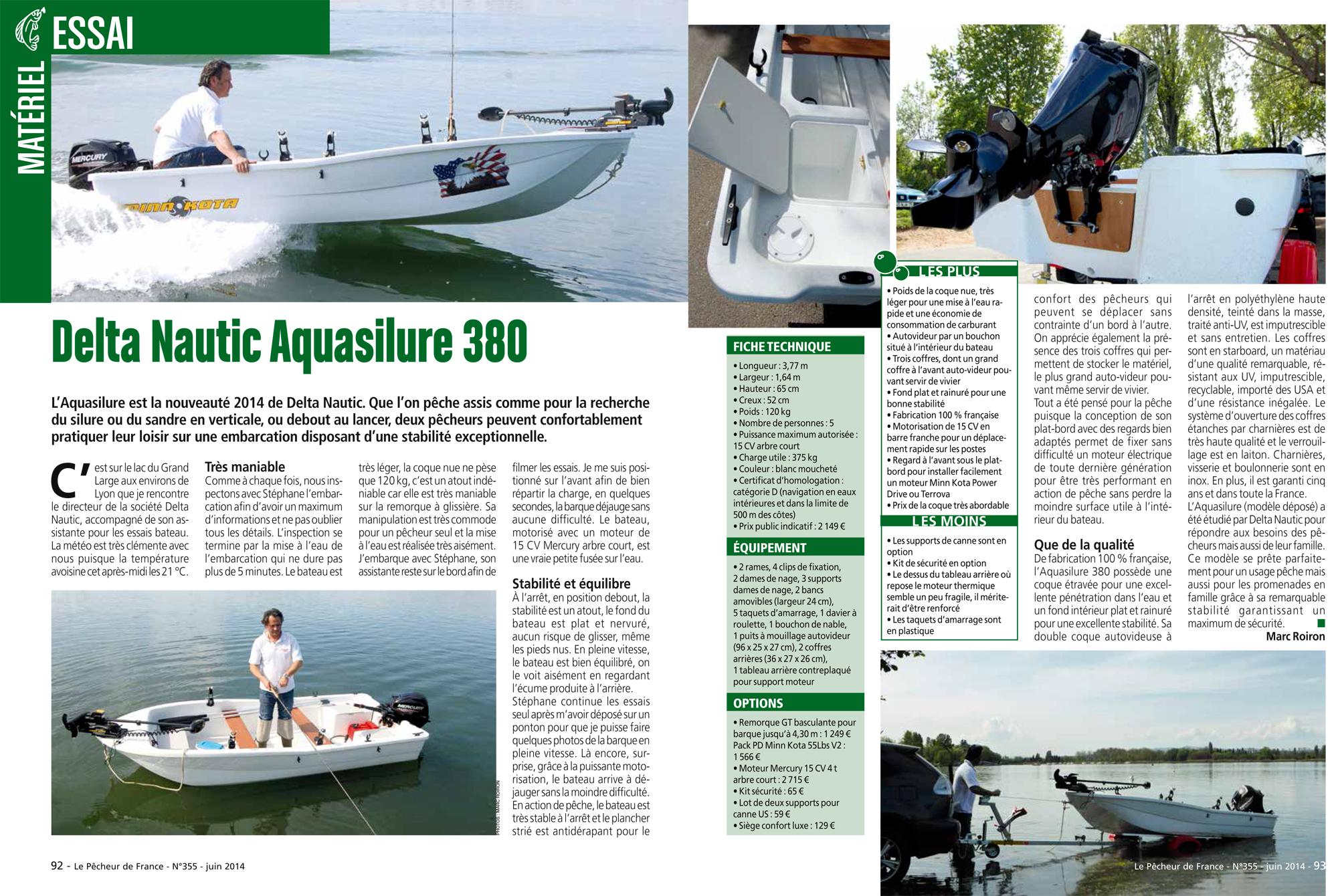 Essai de la barque Aquasilure 380 Delta Nautic