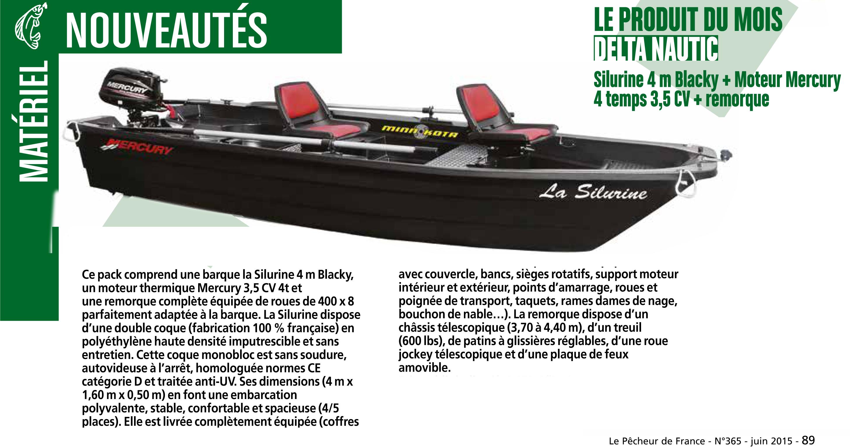 Pack barque Silurine 4m Blacky par le magazine pêcheur de France
