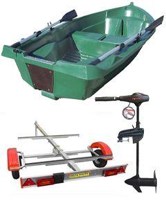 Pack barque la Fidèle 249 + remorque standard + moteur électrique Eco Booster V 55 lbs 12V
