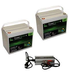 Pack 2 batteries lithium 100 Ah Powerbrick + chargeur 24V