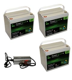 Pack 3 batteries lithium 100 Ah Powerbrick + chargeur 36V
